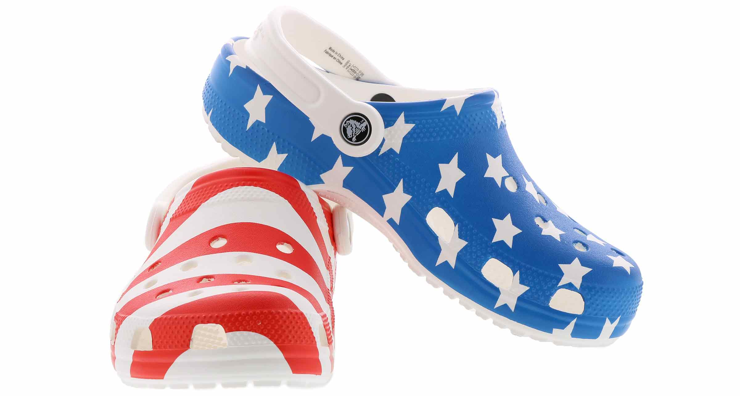 CROCS Classic American Flag Clogs Sandals Red White and Blue