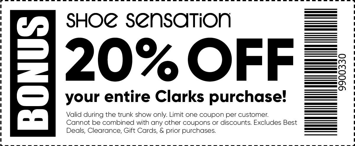 20% off entire clarks purchase during trunk show