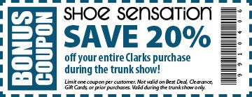 clarks trunk 20% off purchase coupon