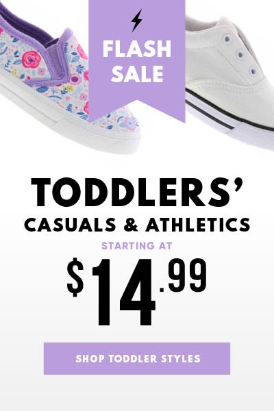 Toddler athletic and casual styles starting at $14.99!